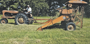 Baling hay with a 1952 Allis-Chalmers baler